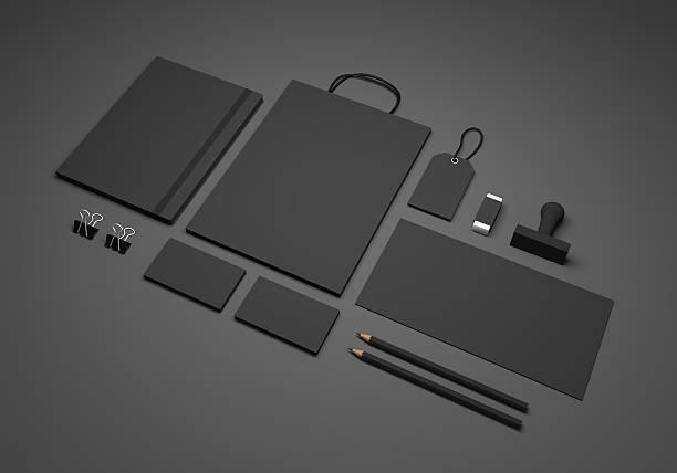 black 3d illustration branding stationery mockup - business card mock up photos et images de collection