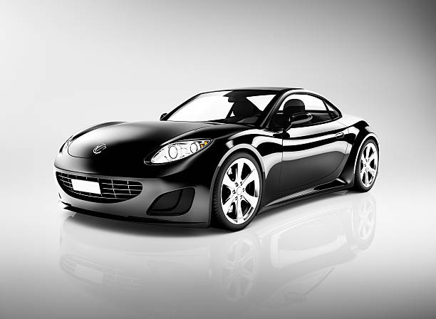 Black 3D Sports Car Black 3D Sports Car luxury car stock pictures, royalty-free photos & images
