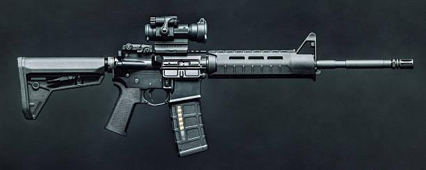 Black 5.56mm AR-15 Rifle stock photo