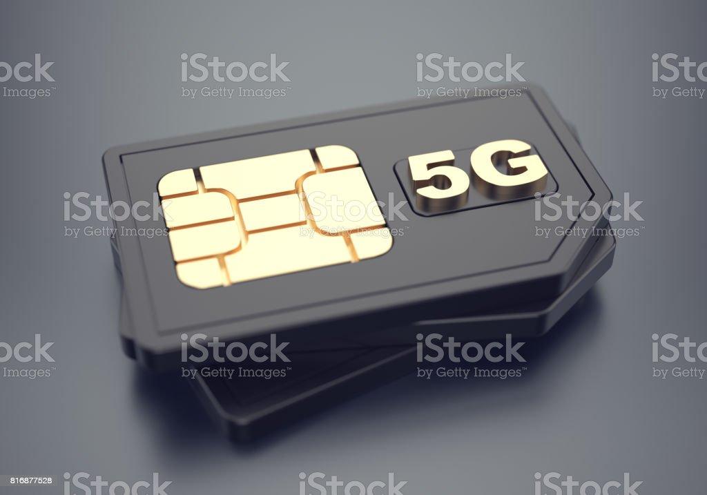 Black 5g SIM-cards stock photo
