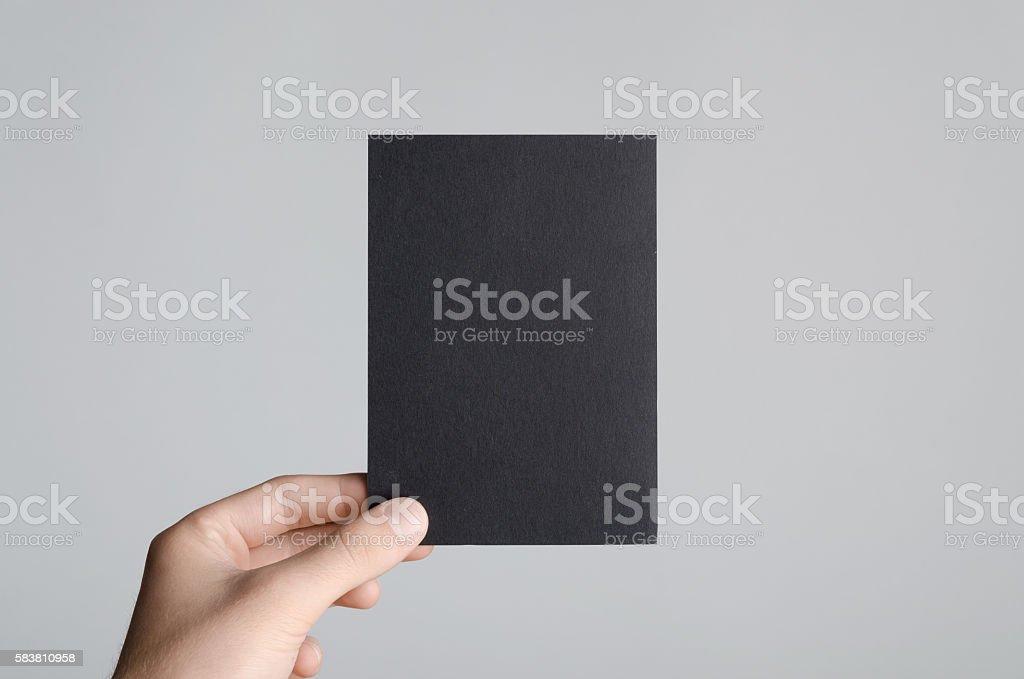 Black A6 Flyer / Postcard / Invitation Mock-Up stock photo