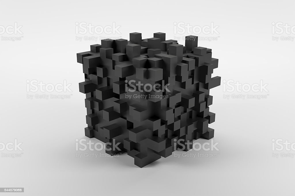 Black abstact modern cube with cubic knots on white background stock photo