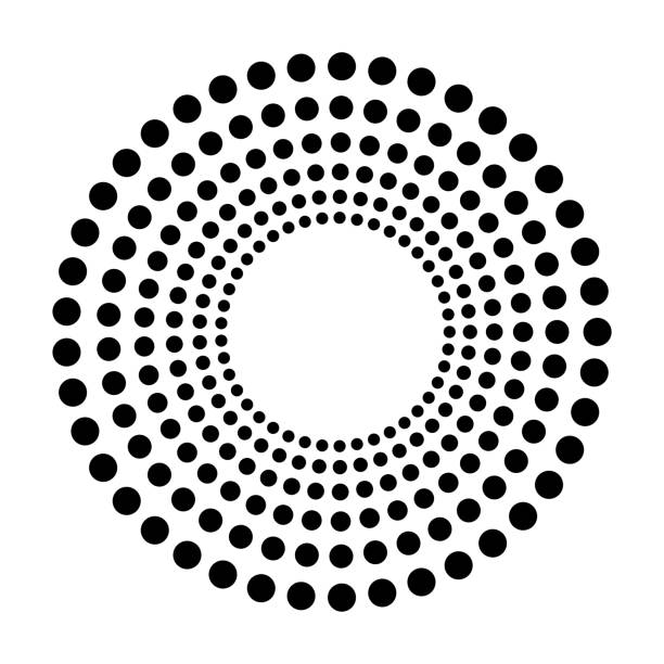 black abstract dots isolated on white background in technology background, 3d circles illustration - halftone pattern stock photos and pictures