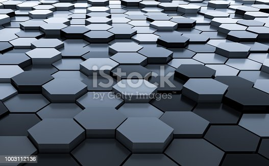 istock Black abstract hexagons background pattern 3D rendering - 3D Illustration 1003112136