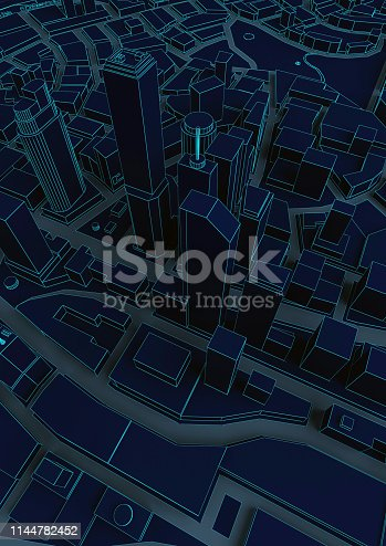 istock black abstract low poly city with blue lines 1144782452
