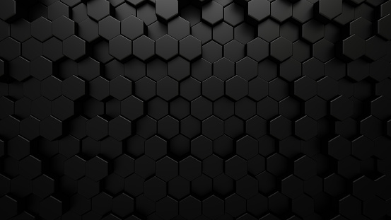 Black abstract technological background with hexagon cells. 3d illustration of honeycomb structure.