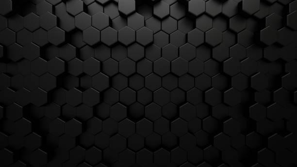 黑色抽象技術背景與六邊形細胞。蜂窩結構的3d插圖。 - 蜂巢式樣 個照片及圖片檔