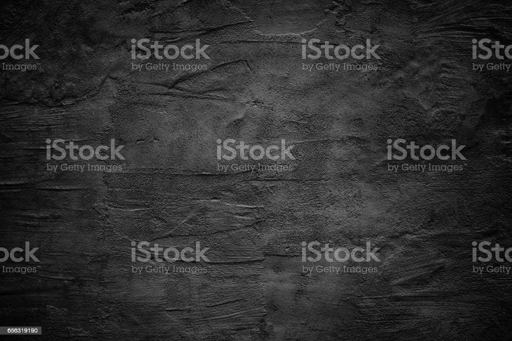 black abstract wall, dark putty texture as background vector art illustration