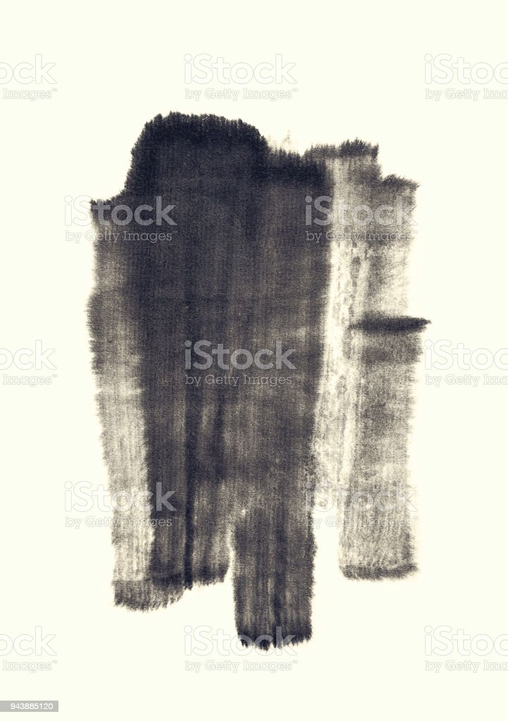 Black abstract watercolor paint brush Strokes texture stock photo