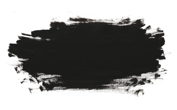 Black abstract watercolor paint brush texture stock photo