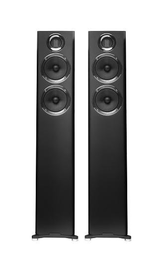 Black acoustic sound speakers on white background. 3D render