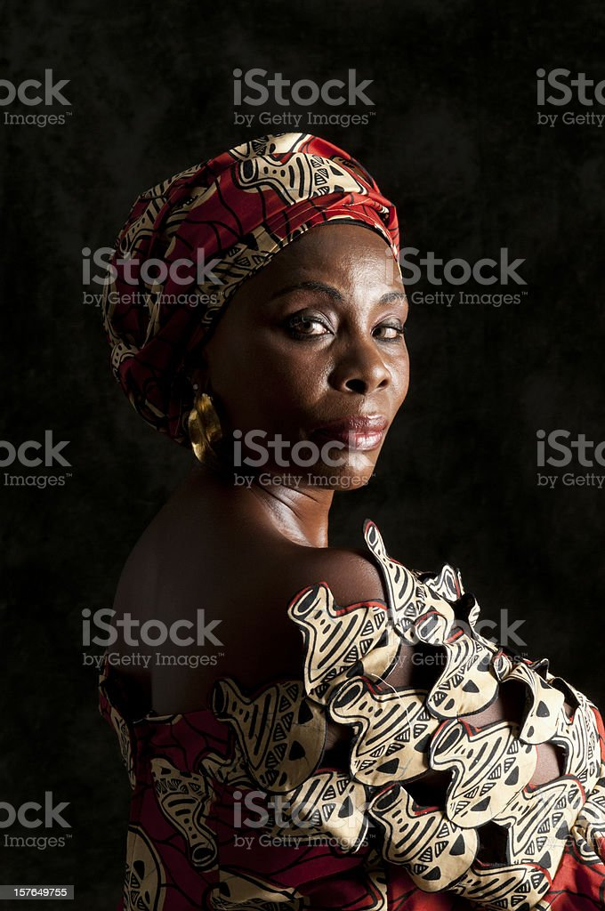 Black African woman with strong facial expression-looking at camera stock photo