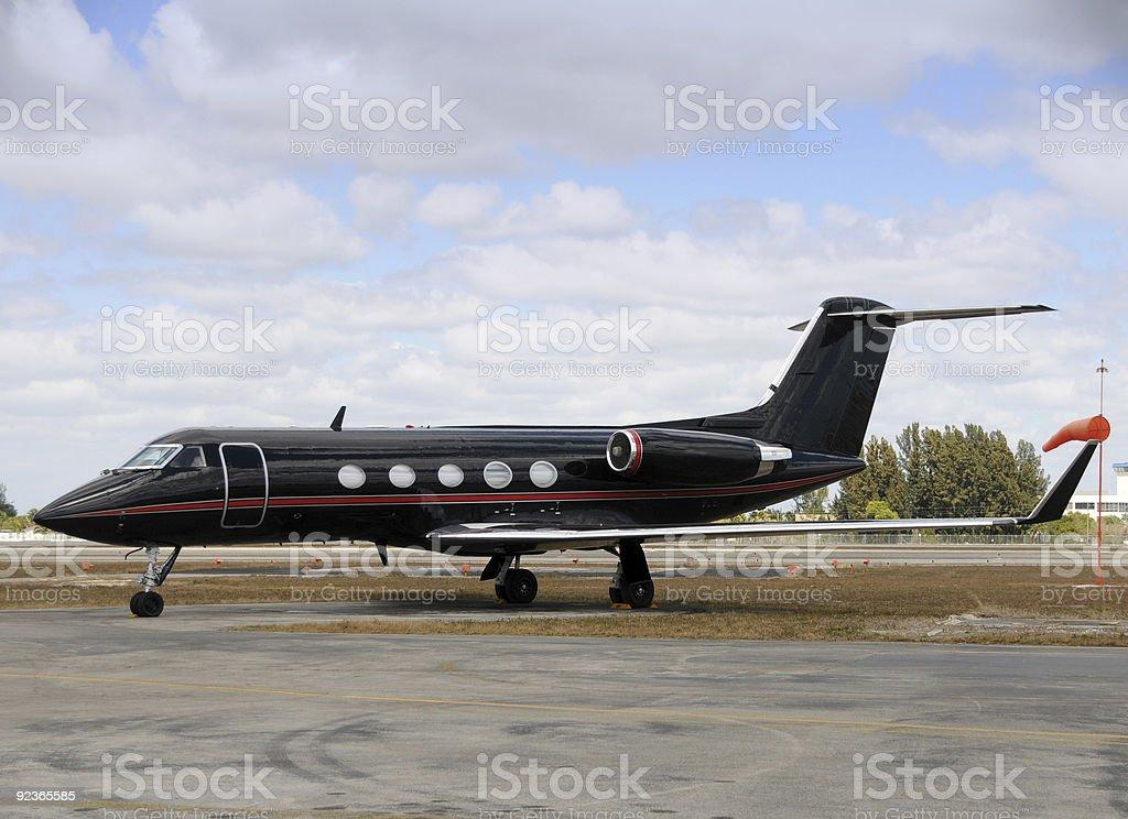 Black airplane stock photo
