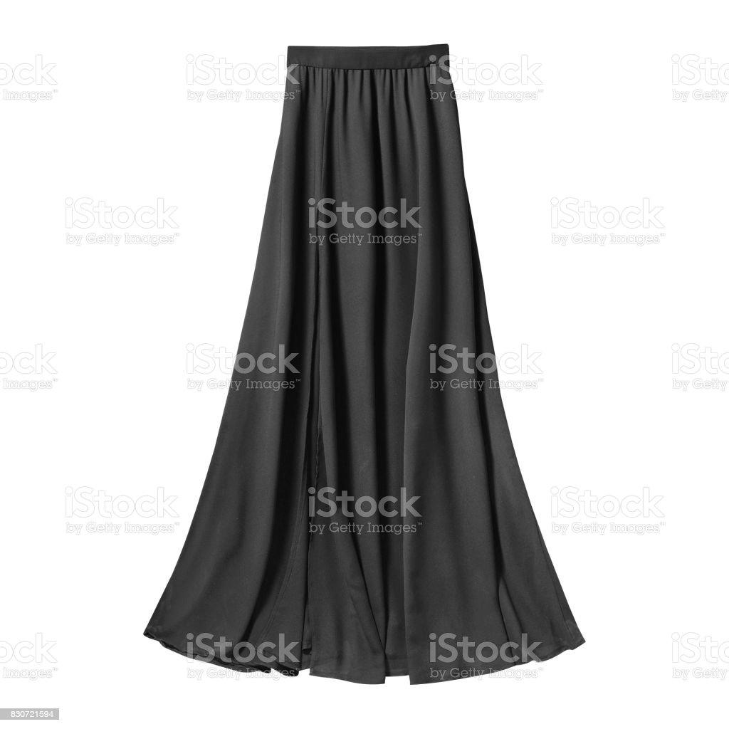 Black airy subtle long elegant maxi skirt isolated white stock photo