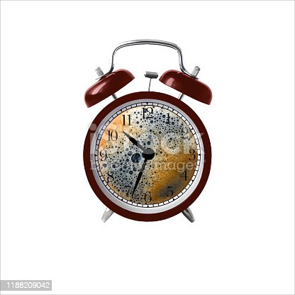 A classic alarm clock with a coffee dial. The concept of morning coffee, coffee break.Isolated on white.