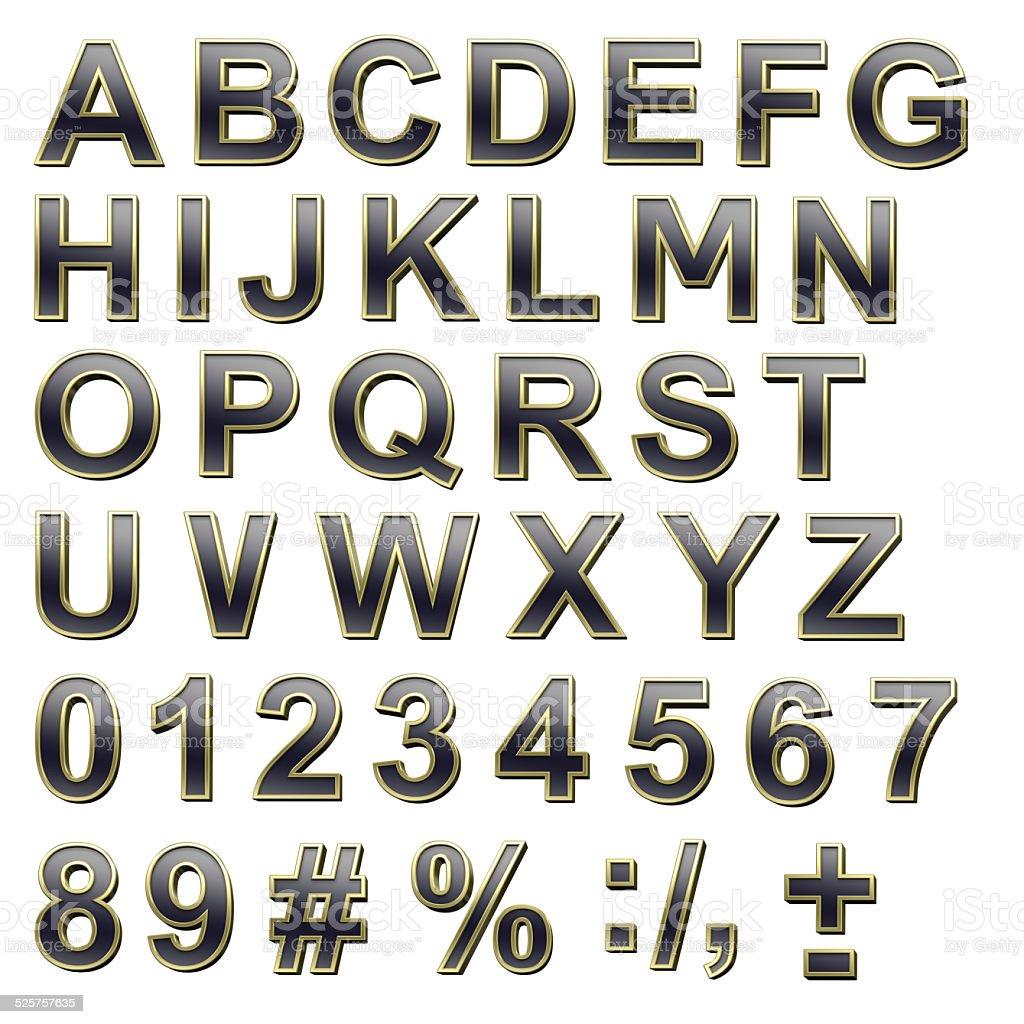 Black alphabet set with gold frame uppercase letter. foto