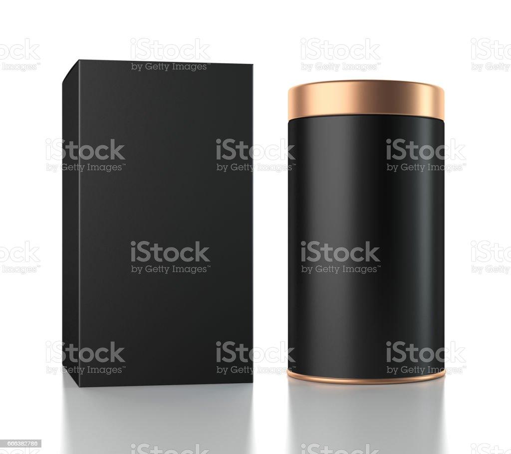 Foto De Lata De Alumínio Preto Com Maquete De Caixa Papelão