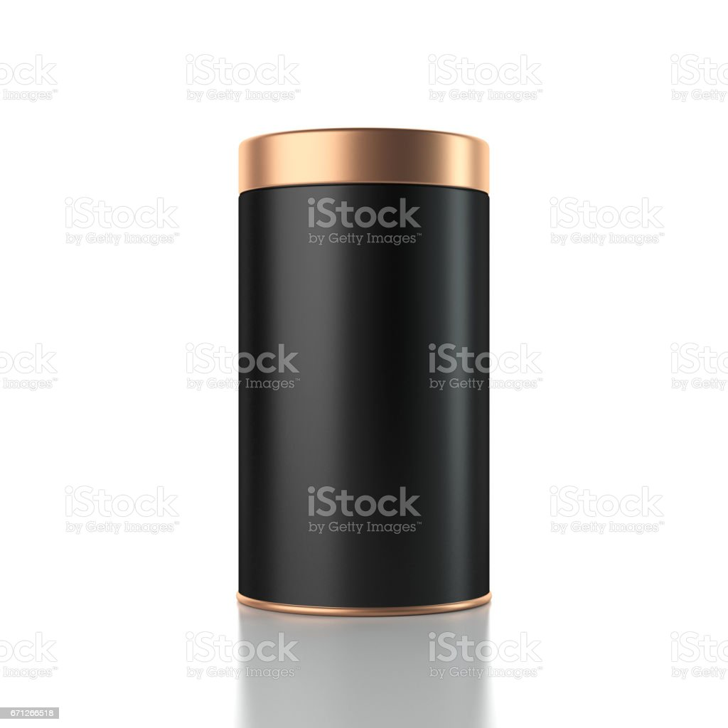 Black aluminum metal Can mockup with gold lid. Canned packaging stock photo