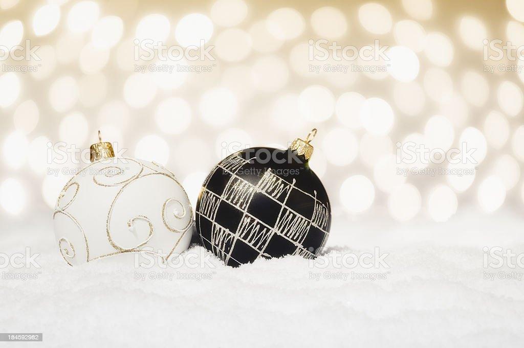 Black & White Christmas Baubles royalty-free stock photo