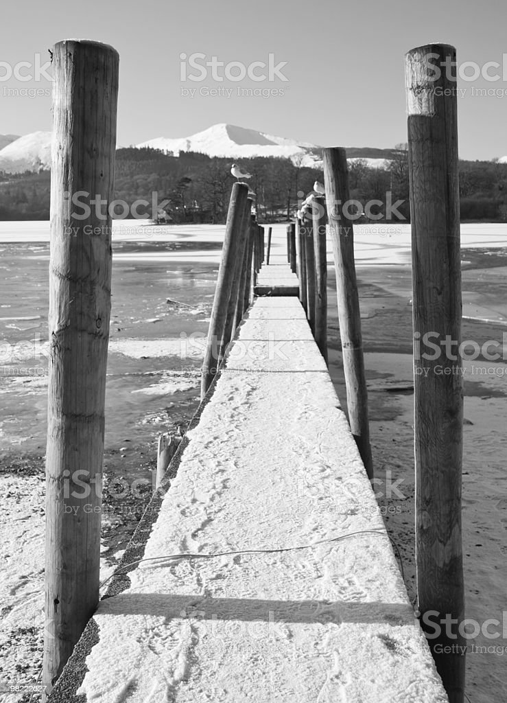 Black & white Derewentwater jetty royalty-free stock photo