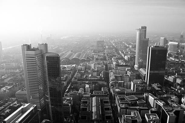 Black & White Frankfurt City Skyline stock photo