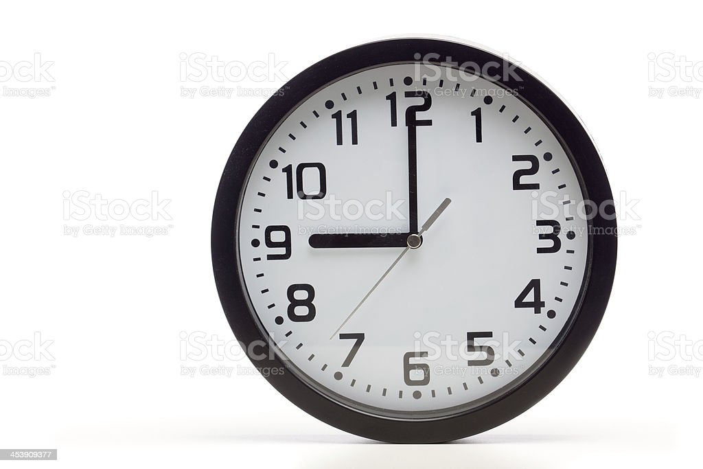 Black analog clock stock photo