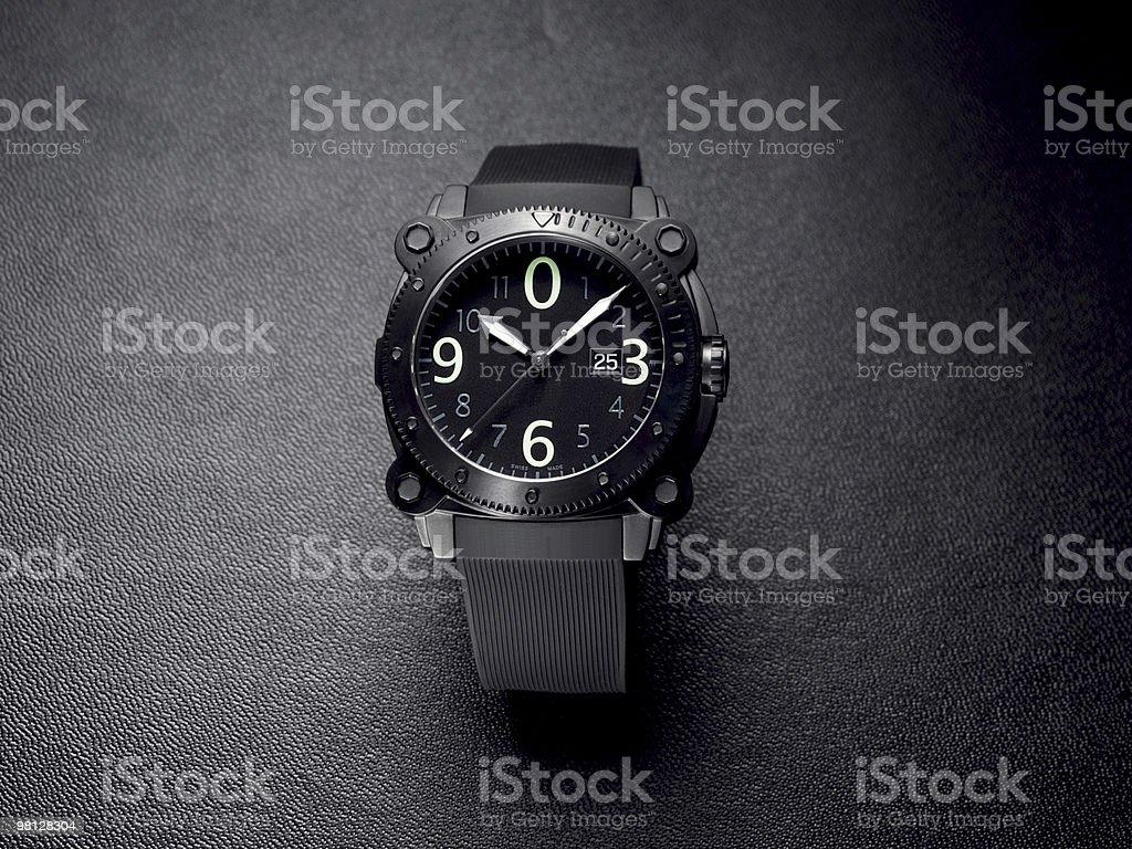 Black analogue watch royalty-free stock photo
