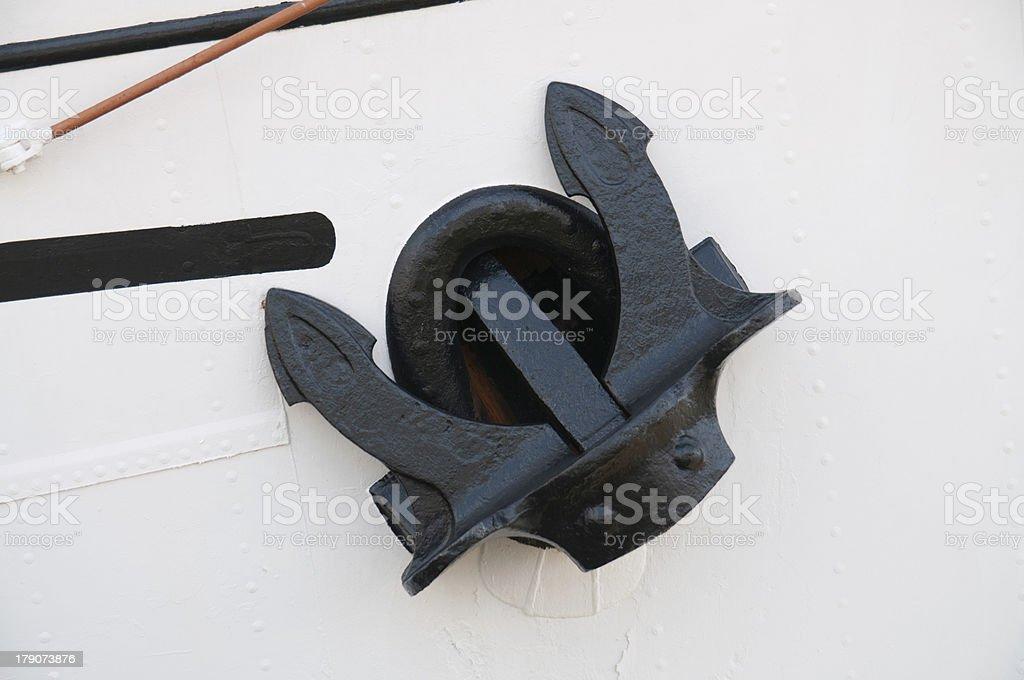 black anchor on white ship royalty-free stock photo