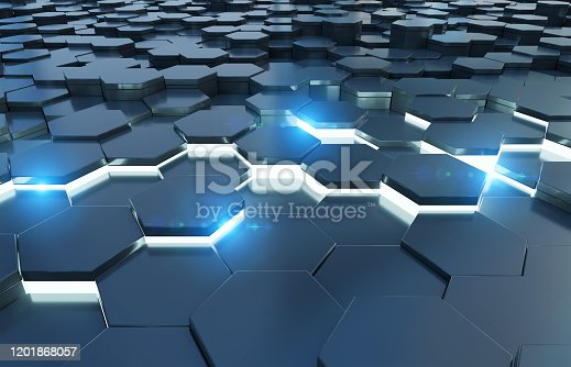 1003112152 istock photo Black and blue abstract hexagons background pattern 3D rendering 1201868057