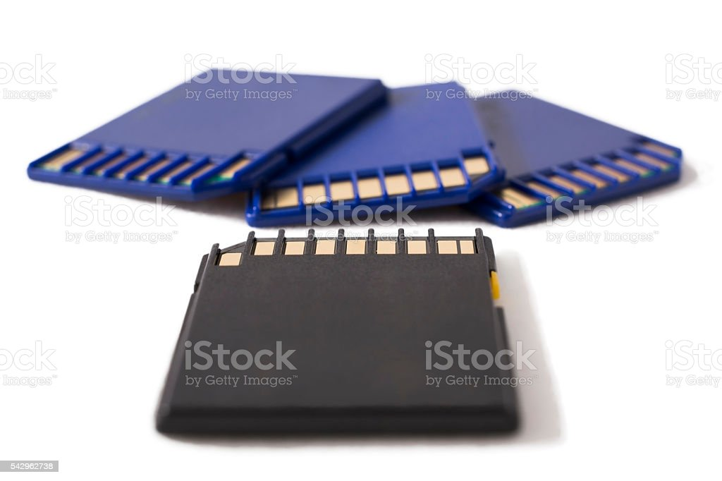 Black and blue memory cards on white background stock photo