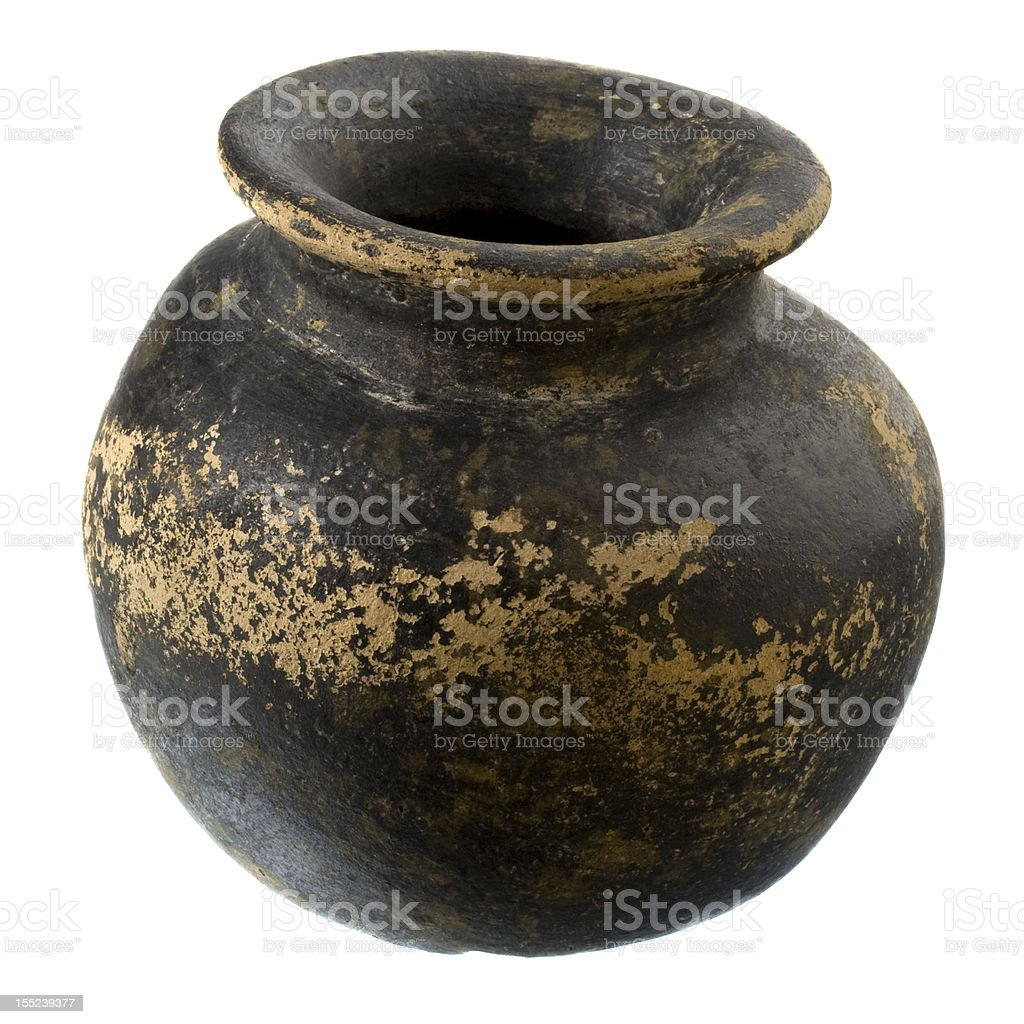 black and brown clay plant pot royalty-free stock photo