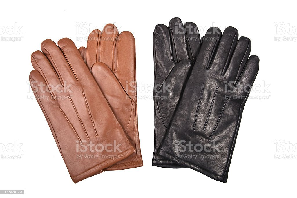 black and brown gloves stock photo