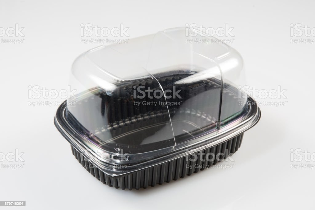 black and clear plastic box for storing a chicken for sale stock photo