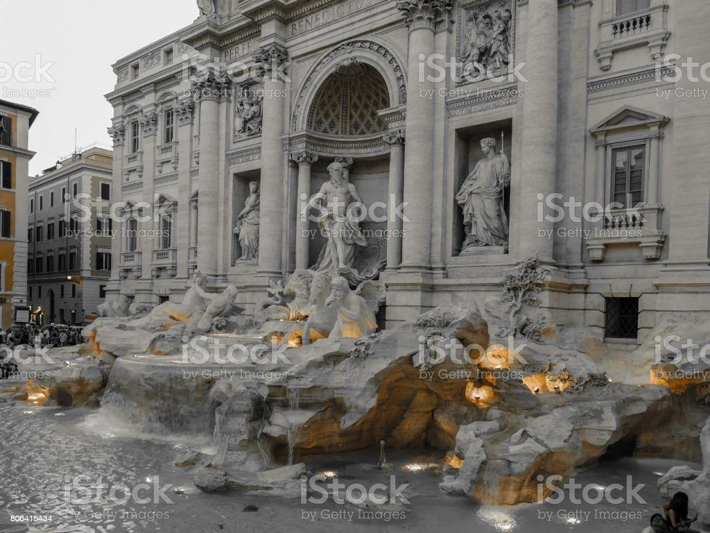 Black and color photo with Trevi Fountain in Rome, Italy stock photo