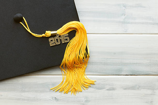 Black and Gold 2015 Graduation stock photo