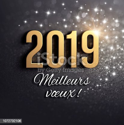 istock Black and gold 2019 French Greeting card 1072732106