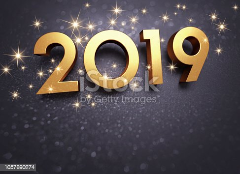 istock Black and gold 2019 Greeting card 1057690274