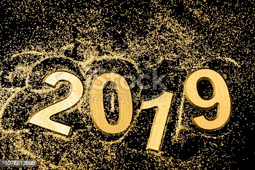 istock Black and gold 2019 Greeting card 1076613898
