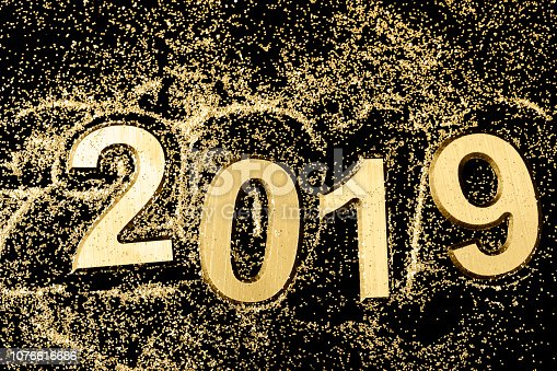 istock Black and gold 2019 Greeting card 1076616686