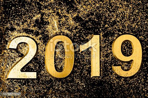 istock Black and gold 2019 Greeting card 1076622042