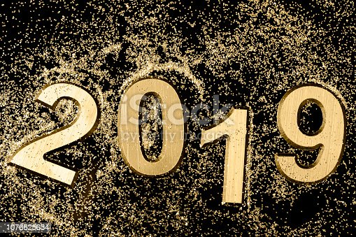 istock Black and gold 2019 Greeting card 1076625634