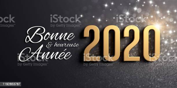 Black and gold 2020 French Greeting card