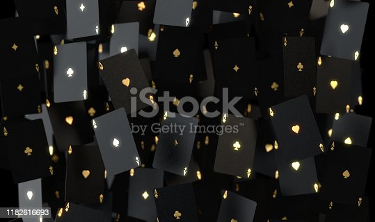 An array of reflective black casino ace cards with gold markings floating in the air on a dark classy background - 3D render