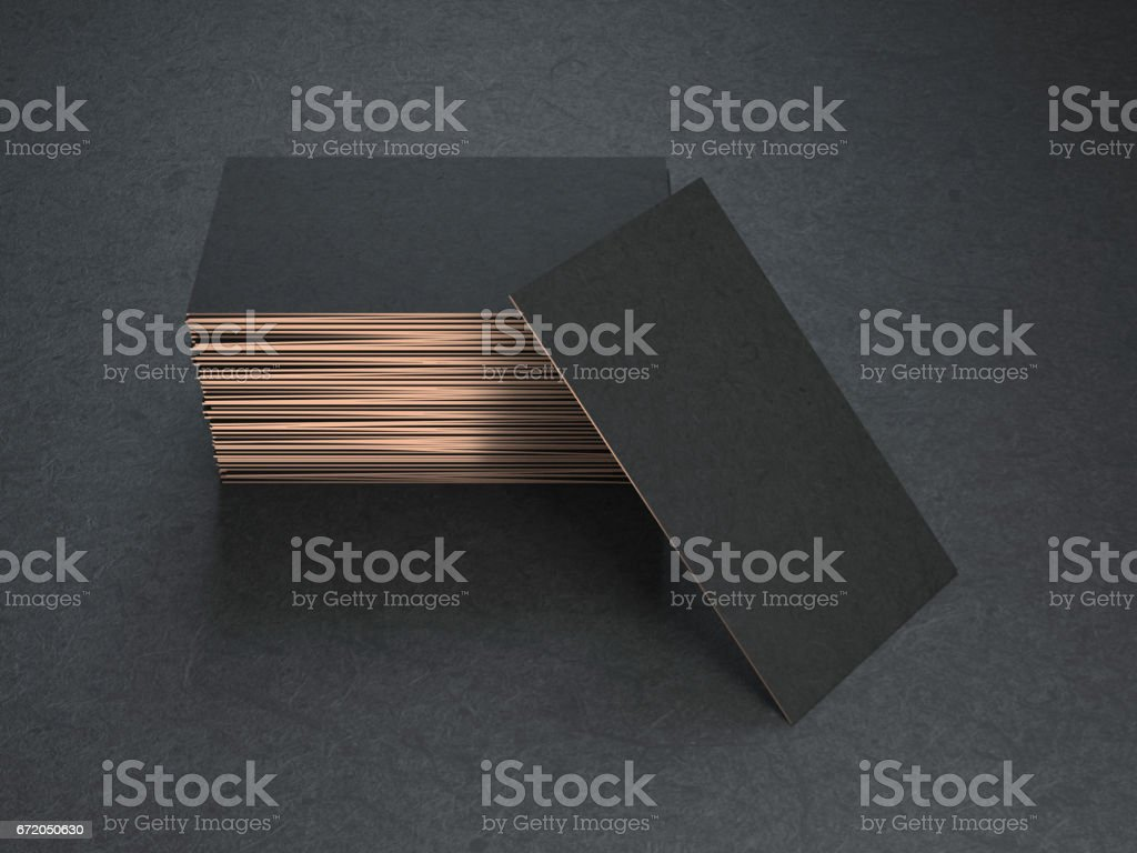Black and gold blank business cards mockup stock photo