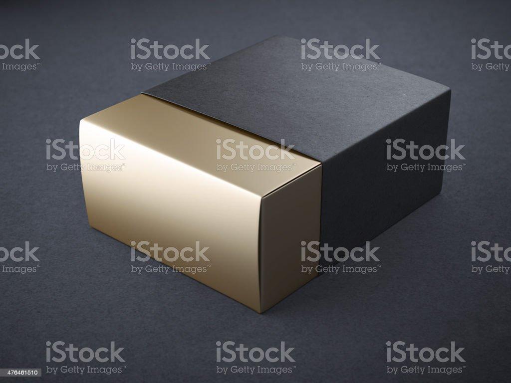 Black and gold box stock photo