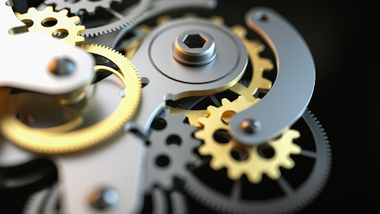 istock Black and gold clock gear Is made up of 3d programs. 825092282