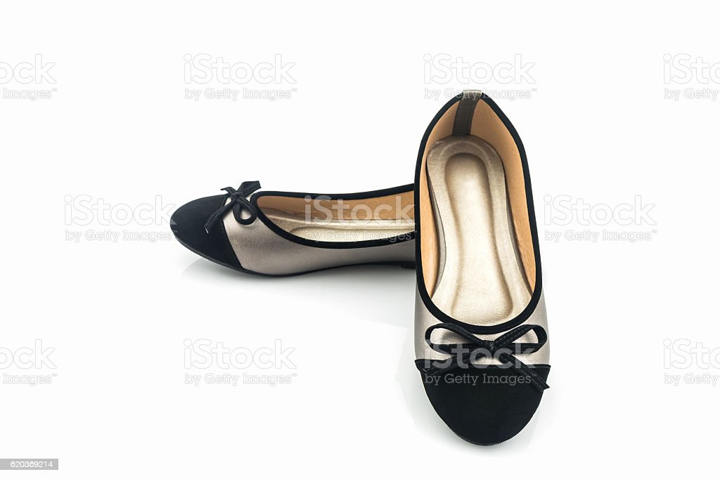 Black and gold color woman shoes. foto de stock royalty-free