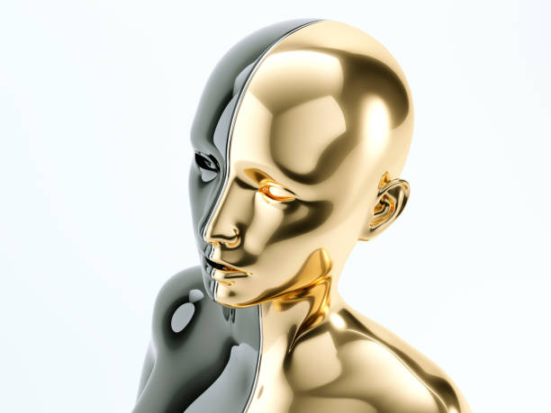 Black and gold human head separated by line as symbol of balance and diversity stock photo