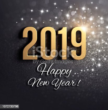 istock Black and gold New Year 2019 Greeting card 1072730798