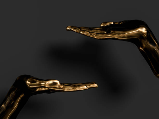 schwarz und gold palm präsentiert geste isoliert auf schwarzem hintergrund, abstrakte handskulptur, 3d rendering, - kunst 1. klasse stock-fotos und bilder